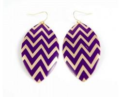 Purple Gold Chevron Marquise Hook Earrings