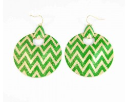 Green & Gold Chevron Round Door Knockers Hook Earrings