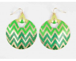 Green Shades Chevron Gold Round Door Knockers Hook Earrings