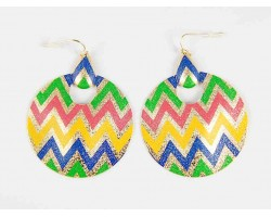 Multi Chevron Gold Round Door Knockers Hook Earrings