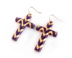 61mm Purple Gold Chevron Cross Hook Earrings