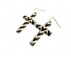 Black Chevron Gold Plate Cross Hook Earrings