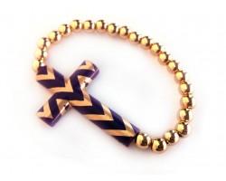 Purple Chevron Gold Cross & Bead Stretch Bracelet