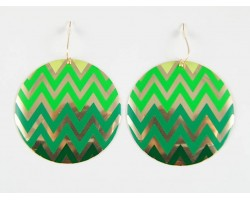 Shades Of Green Chevron Gold Plate Round Hook Earrings