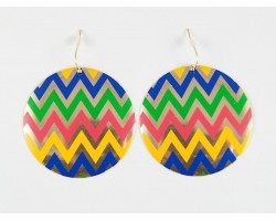 Multi Chevron Gold Plate Round Hook Earrings