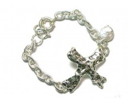 Silver Distressed Cross Pearl Charm Chain Bracelet