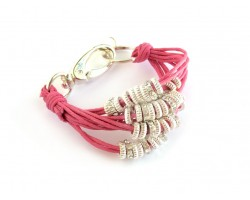 Hot Pink Paracord Multi Strand Ring Bracelet