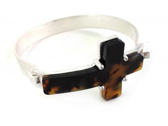 TORTOISE Cross Silver Hammered Hook Bangle Bracelet