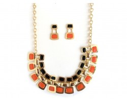 Black Orange Tab Gold Chain Link Necklace Set