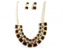 Black Gold Tab Gold Chain Link Necklace Set