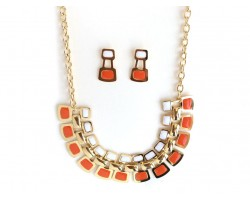 Orange White Tab Gold Chain Link Necklace Set