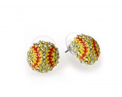 Yellow Crystal Softball Mini Post Earrings