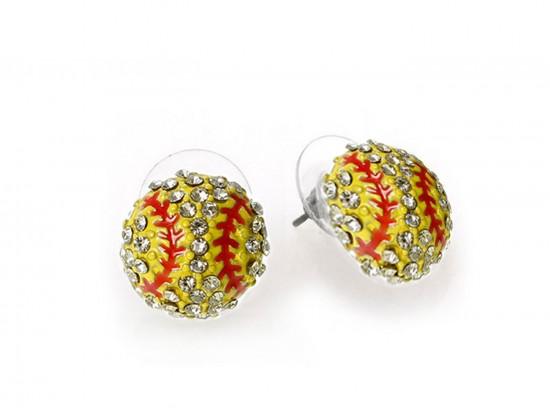 Yellow Crystal Softball Mini Post Earrings