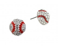 Mini Clear Crystal Baseball Post Earrings