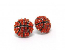 Orange Black Crystal Basketball Post Earrings