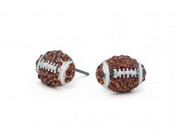 Brown Crystal Mini Football Post Earrings
