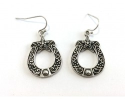 Antique Silver Horseshoe Hook Earrings