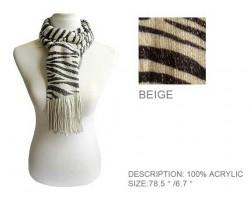 Beige and Black Zebra Print Scarf