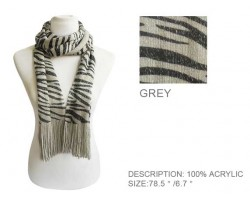 Gray and Black Zebra Print Scarf