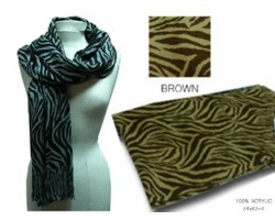 6.5' Acrylic Brown Zebra Print Shawl Scarf with Fringes