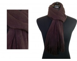 Brown Plain Muffler Oblong Fringe Scarf