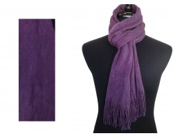 Purple Plain Muffler Oblong Fringe Scarf