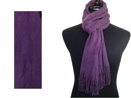 Purple Plain Muffler Oblong Fringe Scarf