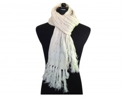 Beige Cable Knit Oblong Scarf