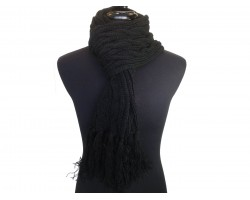 Black Cable Knit Oblong Scarf