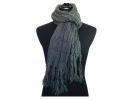 Gray Cable Knit Oblong Scarf