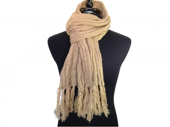 Tan Cable Knit Oblong Scarf