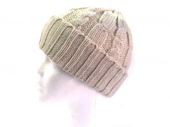 Beige Cable Knit Beanie Cap
