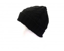 Black Cable Knit Beanie Cap