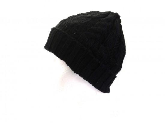 Black Cable Knit Beanie Cap