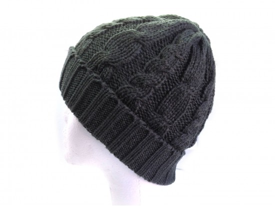 Gray Cable Knit Beanie Cap