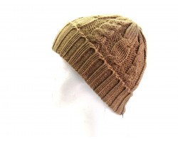 Tan Cable Knit Beanie Cap