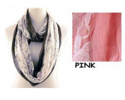 Pink with White Lace Overlay Infinity Scarf