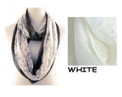 White with White Lace Overlay Infinity Scarf