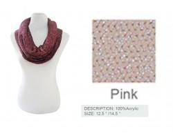 Pink Metallic Sparkle Infinity Scarf