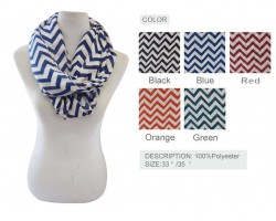 Assorted Color Chevron Infinity Scarf 6pk