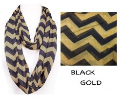 Black & Gold Chevron Infinity Scarf