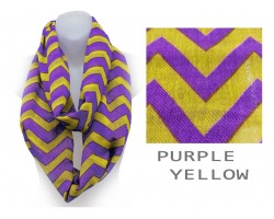 Purple & Yellow Chevron Infinity Scarf