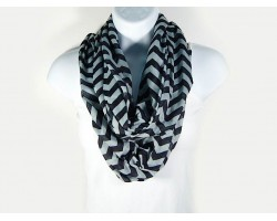 Black & Gray Jersey Knit Chevron Infinity Scarf