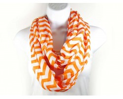 Orange Jersey Knit Chevron Infinity Scarf
