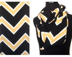 Black Gold Jersey Knit Chevron 2 Lay Infinity Scarf