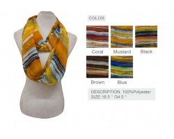 Assorted Color Slant Pattern Infinity Scarf 6 Pack