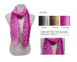 Assorted Color Tiger Pattern Chiffon Scarf 6 Pack