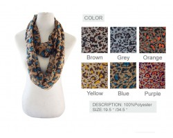 Assorted Color Leopard Print Infinity Scarf 6 Pack