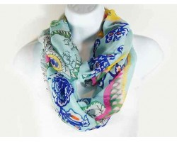 Blue Tropical Floral Design Infinity Scarf