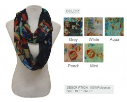 Assorted Diamond Aztec Design Infinity Scarf 6pk